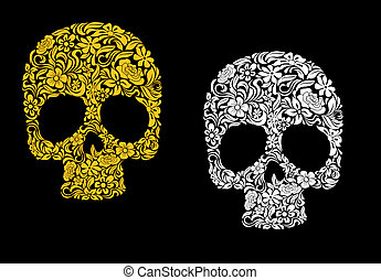 Floral skull in retro style for ecology concept design