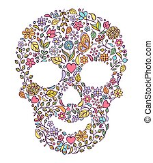 floral skull isolated on white background