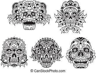 Floral skulls - Floral ornamental skulls. Set of black and ...