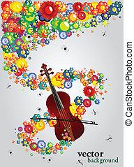 floral, som, de, música