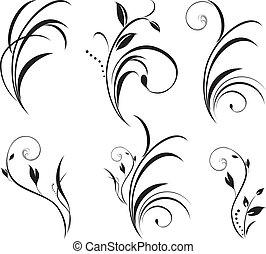 floral, sprigs., decoración, elementos