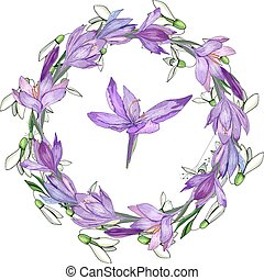 Floral spring elements with cute bunches of crocus and herbs. Endless horizontal  pattern brush. For romantic and easter design, announcements, greeting cards, posters, advertisement.