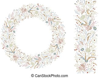 Floral spring elements with cute bunches of poppy and wild spring flowers. Endless pattern brush. For romantic and wedding design, announcements, greeting cards, posters, advertisement.