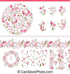 Floral spring elements with cute bunches of tulips and roses...