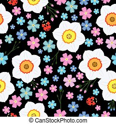 Floral spring seamless vector background flower and trees