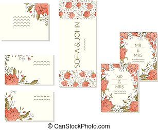 Floral spring template with bunches of roses