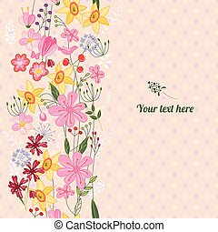 Floral spring template with cute bunches of wild flowers