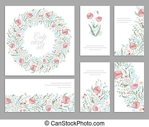 Floral spring templates with cute bunches of pink poppies. For romantic and easter design, announcements, greeting cards, posters, advertisement.