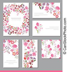 Floral spring templates with cute bunches of red flowers