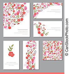 Floral spring templates with cute bunches of red roses and other flowers
