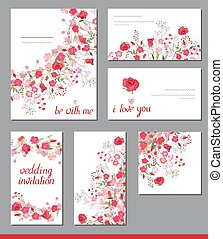 Floral spring templates with cute bunches of red roses