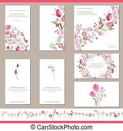 Floral spring templates with cute bunches of red tulips