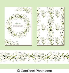 Floral spring templates with cute bunches of snowdrops. ...