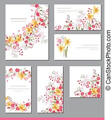 Floral spring templates with cute bunches of spring flowers