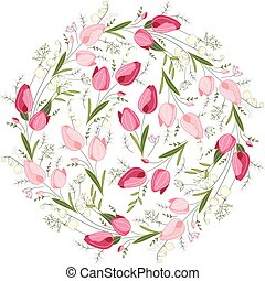 Floral spring templates with cute bunches of tulips. Endless horizontal  pattern brush. For romantic and easter design, announcements, greeting cards, posters, advertisement.