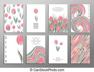 Floral spring templates with cute flowers tulipss. For romantic and business design, announcements, greeting cards, posters, advertisement.