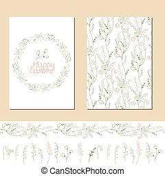 Floral spring templates with cute white flowers. Endless horizontal pattern brush and isolated objects. For romantic and easter design, announcements, greeting cards, advertisement.