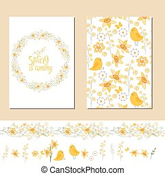 Floral spring templates with cute yellow flowers and chickens. Endless horizontal pattern brush and isolated objects. For romantic and easter design, announcements, greeting cards, advertisement.