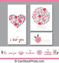 Floral spring templates with heart made of different stylized flowers