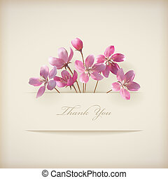 Floral spring vector 'Thank you' pink flowers card - Floral...