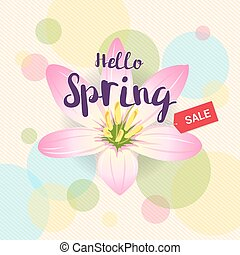 Floral spring with pink flower and colorful background