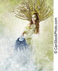 Floral spring woman - Beautiful spring woman holding winter...