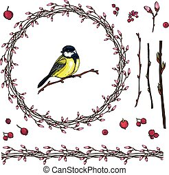 Floral spring wreath with a bright little bird