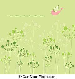 floral, springtime, coloridos, pássaro