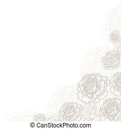 Floral square corner background. Elegant flowers, roses, peonies vector. Decorative wedding card frame template. graphic illustration