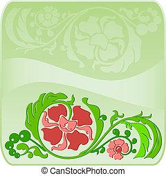 Floral square green frame