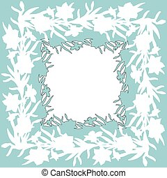 Floral square ornament border with hand drawn flowers daffodils