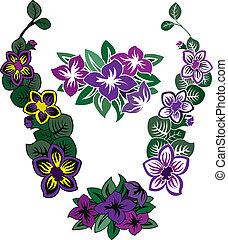 Floral stencil pattern set, stencil