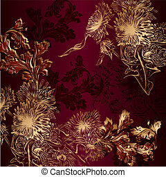 floral, stijl, kaart, uitnodiging