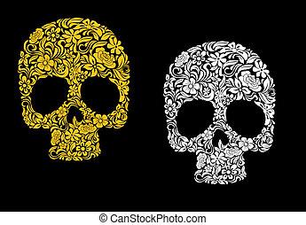 floral, stijl, retro, schedel