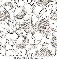 floral, stijl, spotprent, achtergrond, seamless