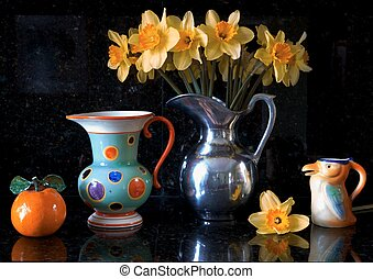 antique chechloslovakian pottery with a pewter vase full of daffodills, and a orange, interior still life, art