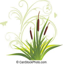 floral, stok, ornament, gras