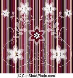 Floral striped seamless pattern