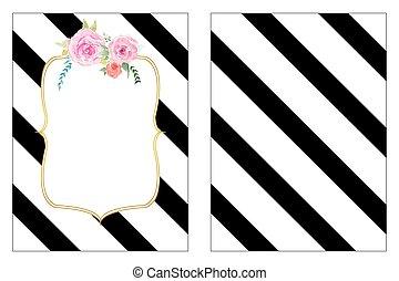 Floral stripes wedding invitation