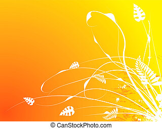 floral stroke warm - Floral abstract background in orange...