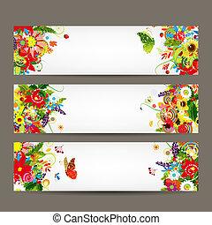 floral, style, conception, bannières, ton