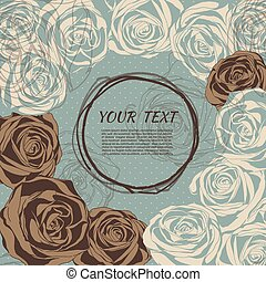 floral, style, roses., retro, fond