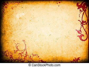 floral, style, textures arrière-plans, cadre