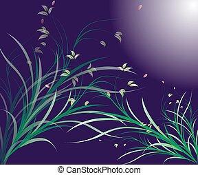floral, stylized, projete elemento