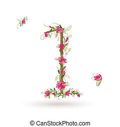 floral, su, diseño, numere uno