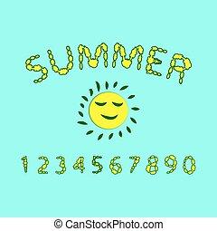 Floral summer font.