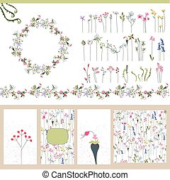 Floral summer templates. For romantic design