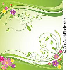 floral, summery, bannière