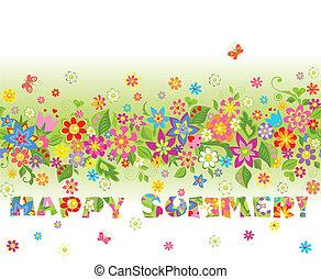 floral, summery, frontière, seamless, coloré