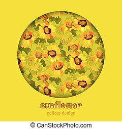 Floral sunflower and leafs circle design background. Text place.